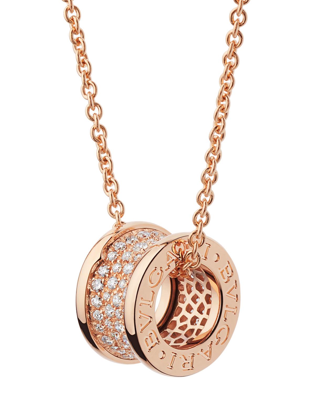 B.Zero1 18k Rose Gold Necklace with Diamonds