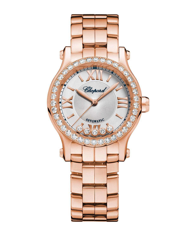 Happy Sport 18k Rose Gold Diamond Bracelet Watch