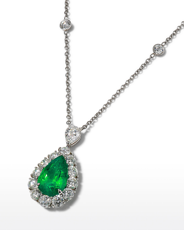 Platinum Emerald and Diamond Pendant Necklace