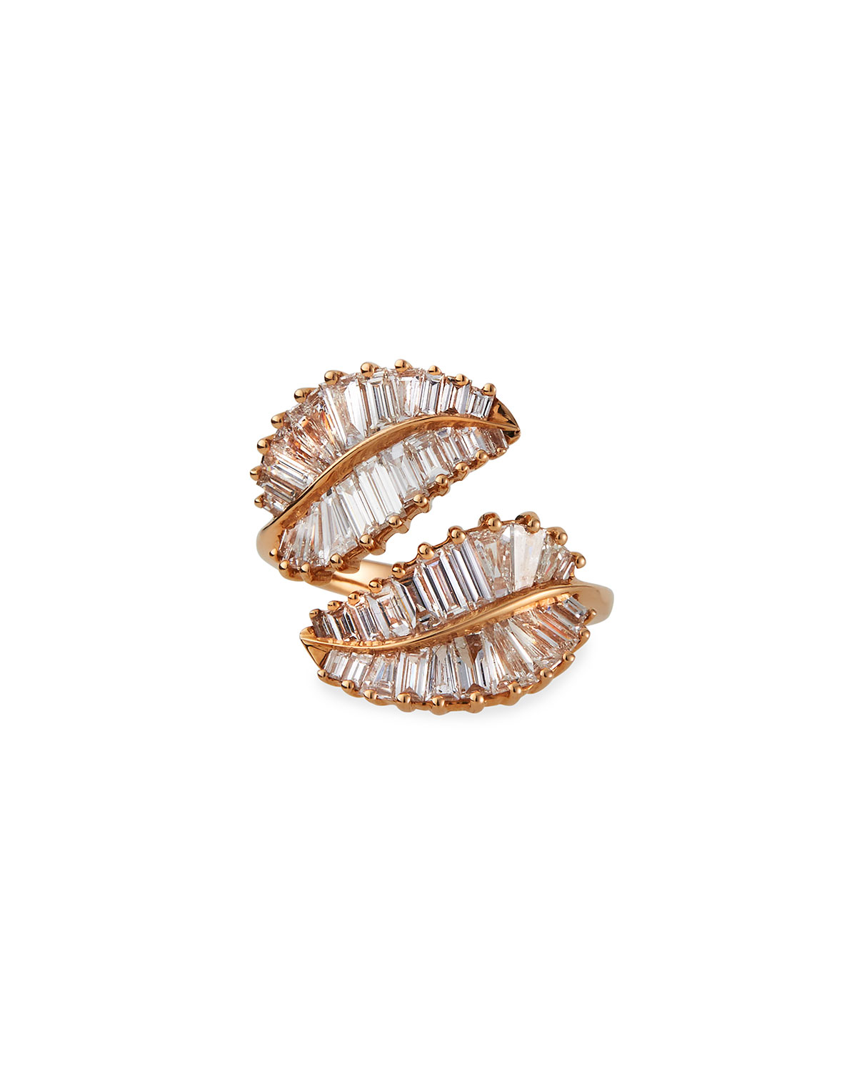 Palm Leaf 18k Rose Gold and Diamond Ring