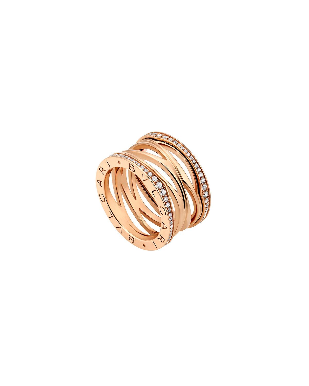 B.Zero1 18k Rose Gold 4-Band Ring with Diamond Sides