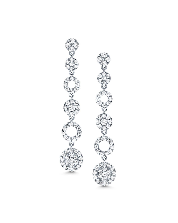 18k White Gold Diamond Cascade Earrings