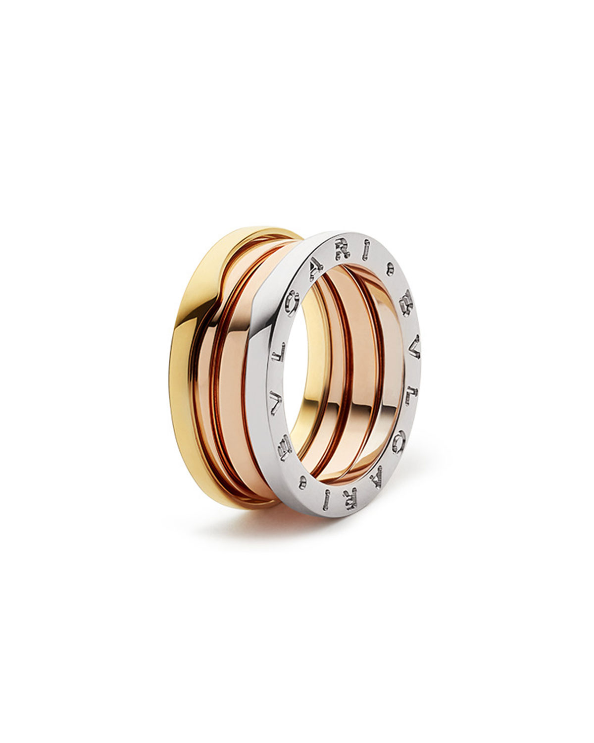 B.Zero1 Tricolor 18k Gold 3-Band Ring