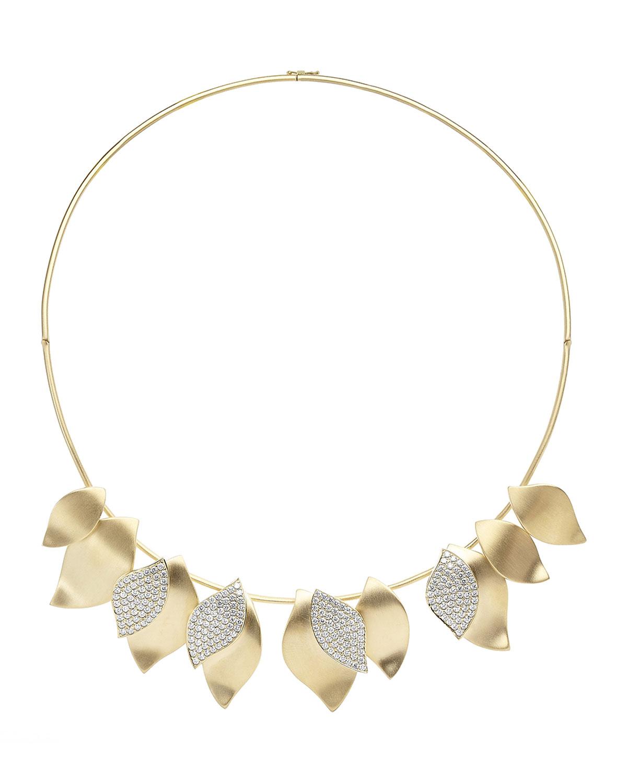 18k Yellow Gold Diamond Lotus Necklace