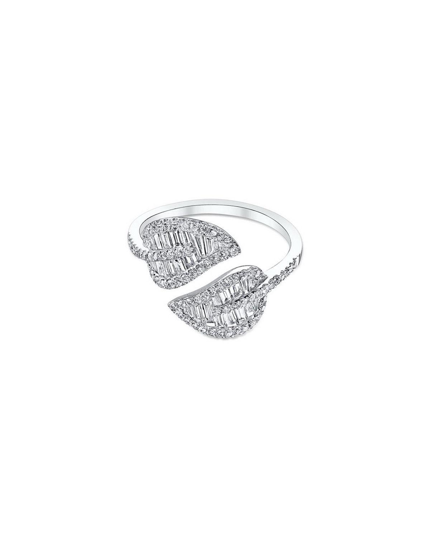 18k White Gold and Diamond Leaf Ring