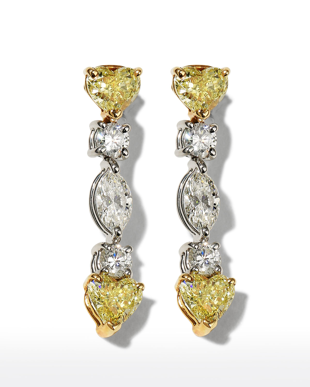 Platinum Fancy Yellow and White Diamond Earrings