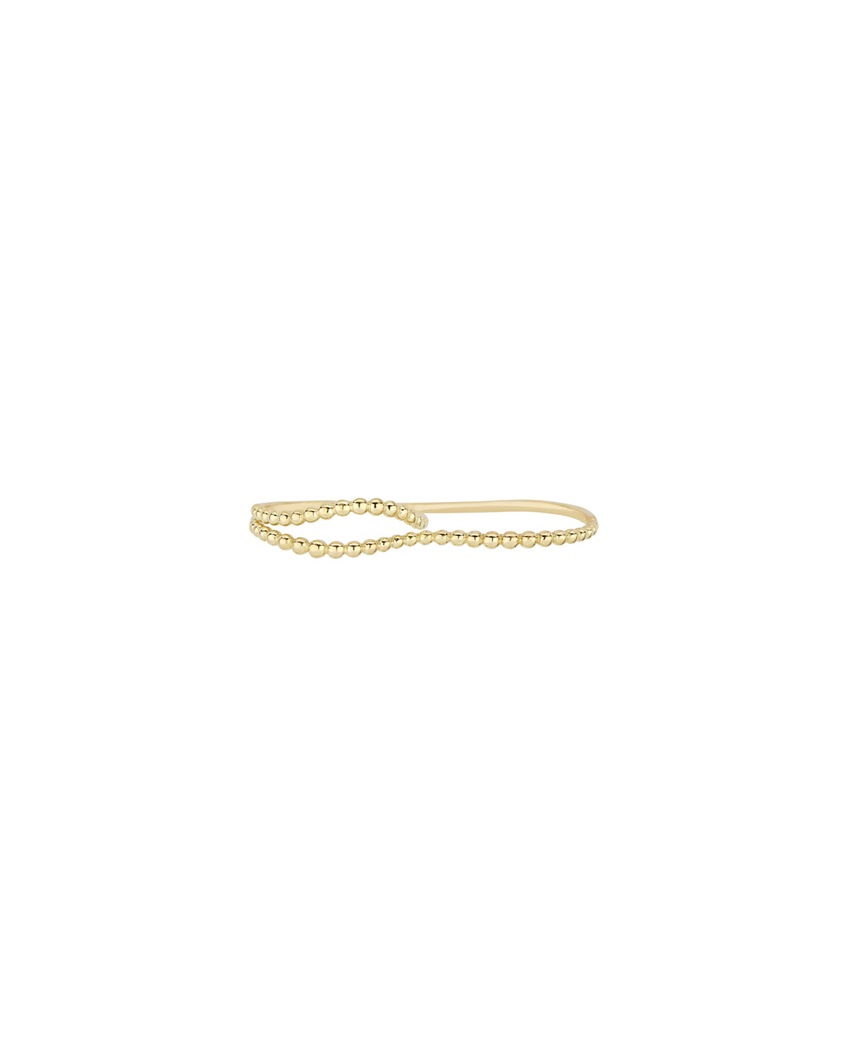 Granulated Ball Wave Two-Finger Ring