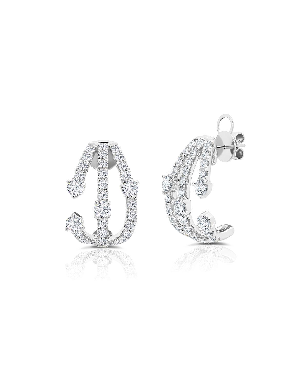 18k White Gold Diamond Cage Earrings