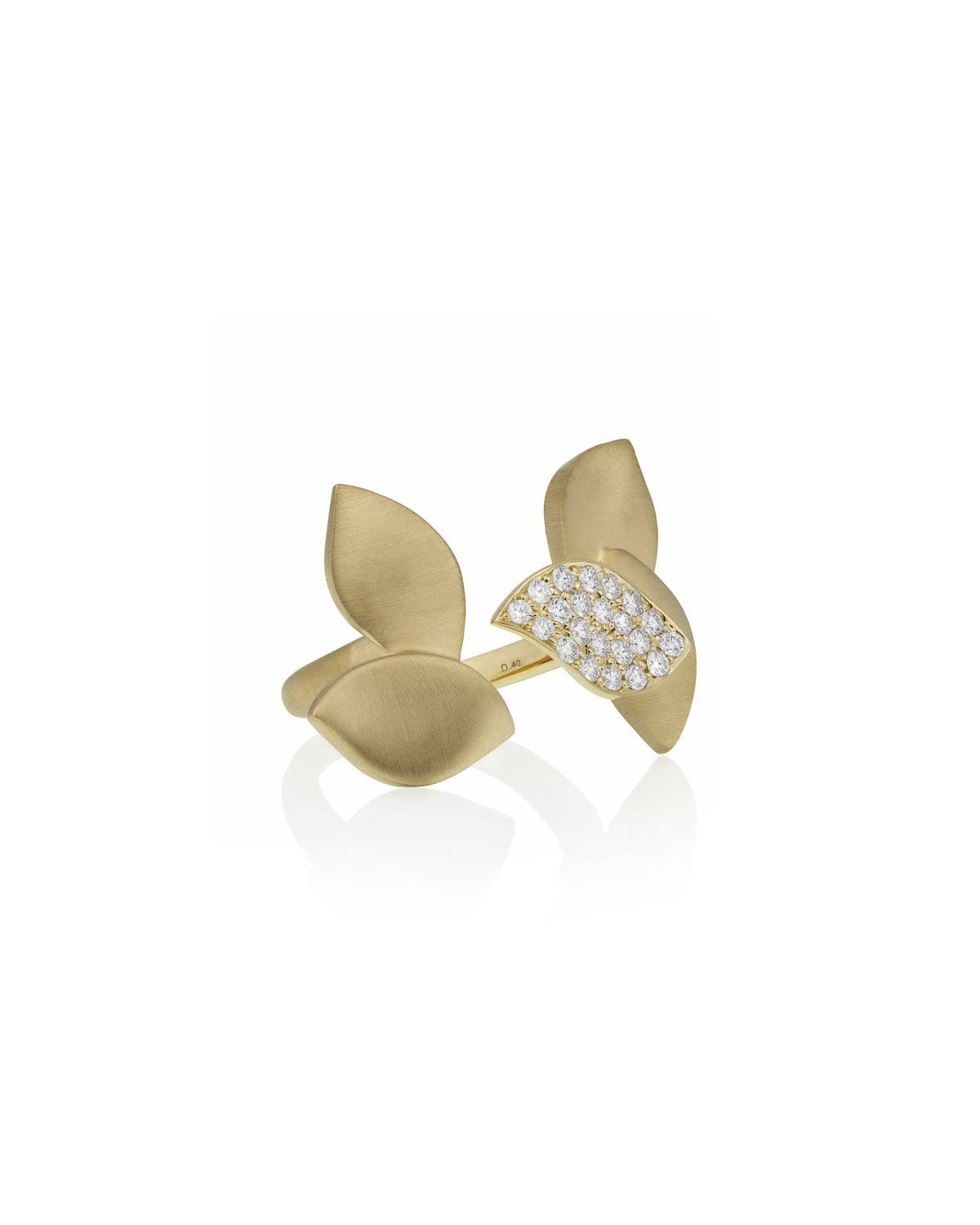Lotus Diamond Pave Between-the-Finger Ring