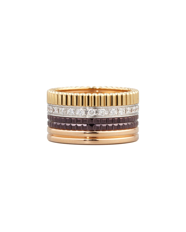 Classic Quatre 18k Gold Large Diamond Band Ring, Size 9