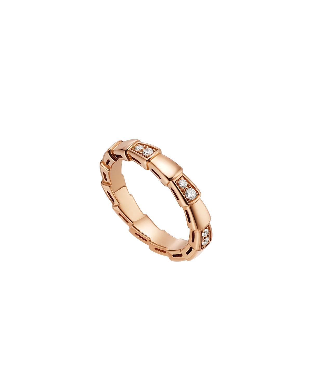Serpenti Viper Ring in 18k Rose Gold and Diamonds