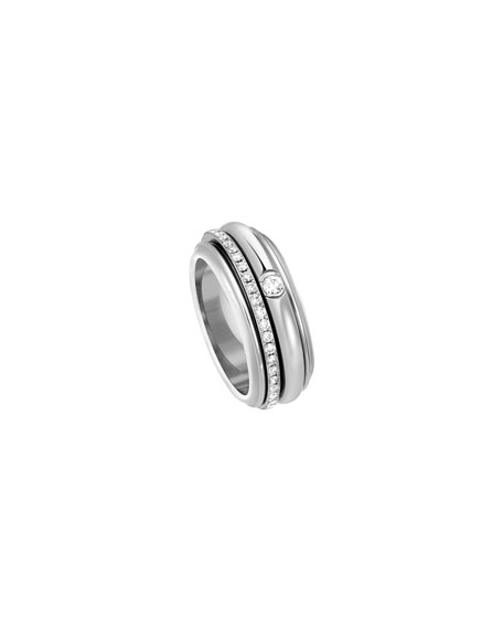 PIAGET Possession Turning Band Ring with Diamonds in 18K White Gold, Size 54