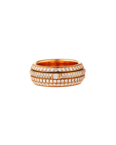 Possession Full Pavé Diamond Band Ring in 18K Rose Gold, Size 54