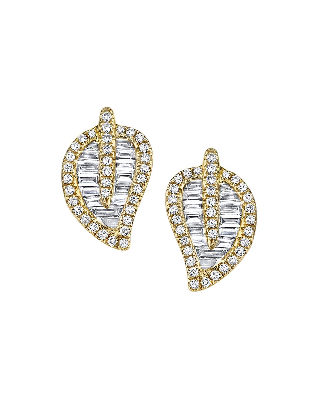 18k Gold Diamond Leaf Stud Earrings