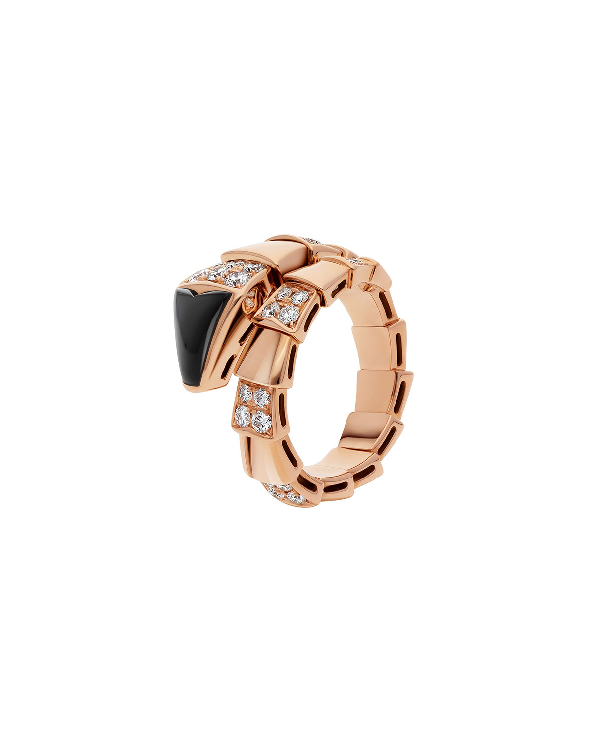 Serpenti Ring in 18k Rose Gold and Black Onyx