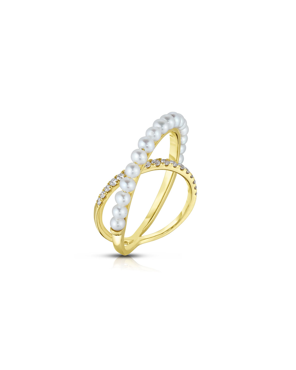 18K Crossover Pearl and Diamond Ring