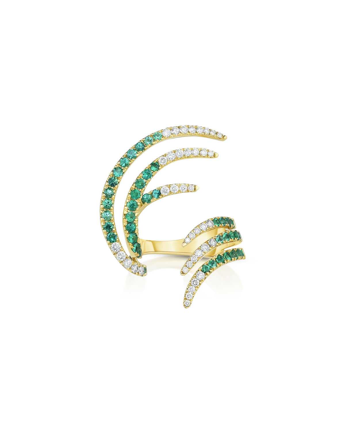 18K Emerald and Diamond Open Wing Ring