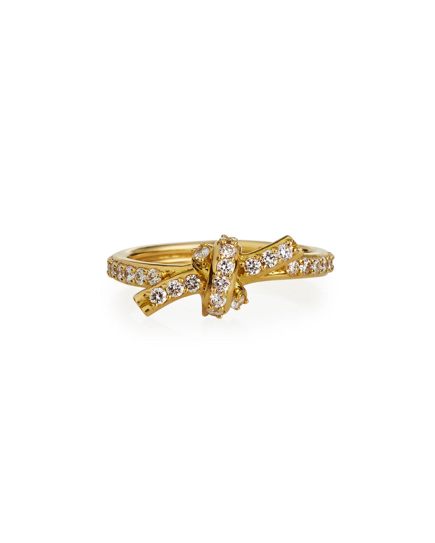 18k White Gold Diamond Knot Pinky Ring