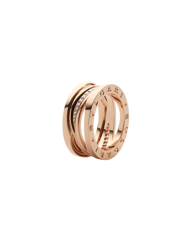 B.Zero1 18k Rose Gold Spiral Ring with Diamond Trim