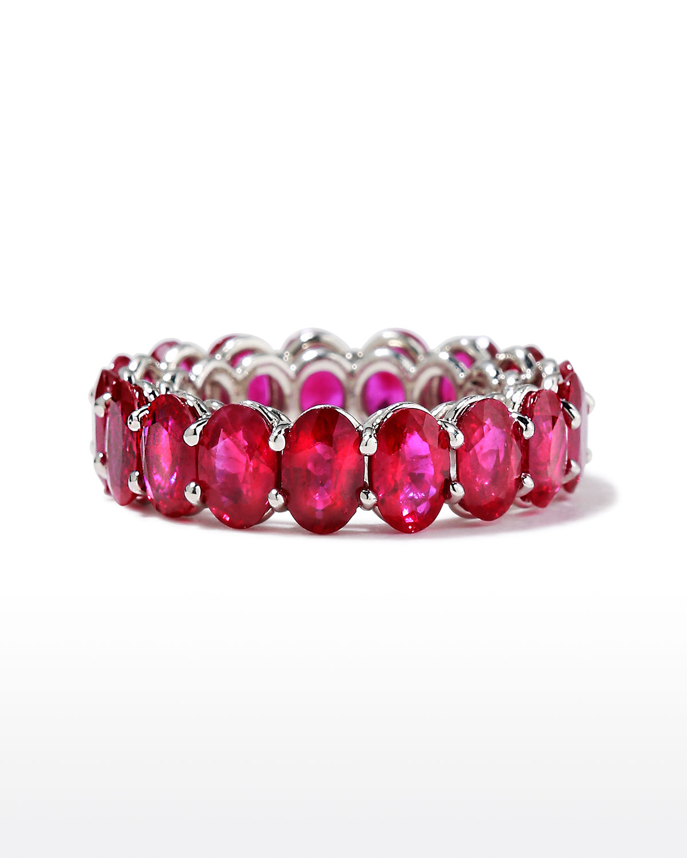 Platinum Burma Ruby Band Ring
