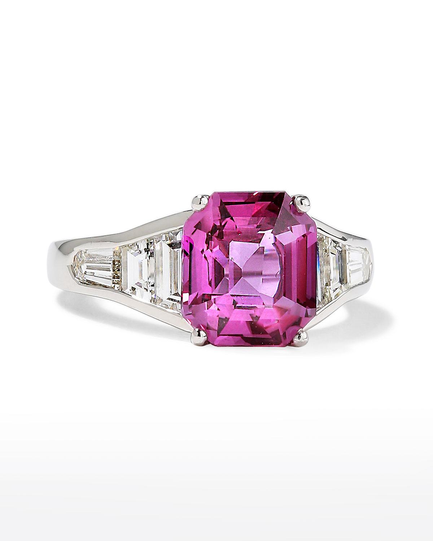 Platinum Emerald-Cut Sapphire and Diamond Ring