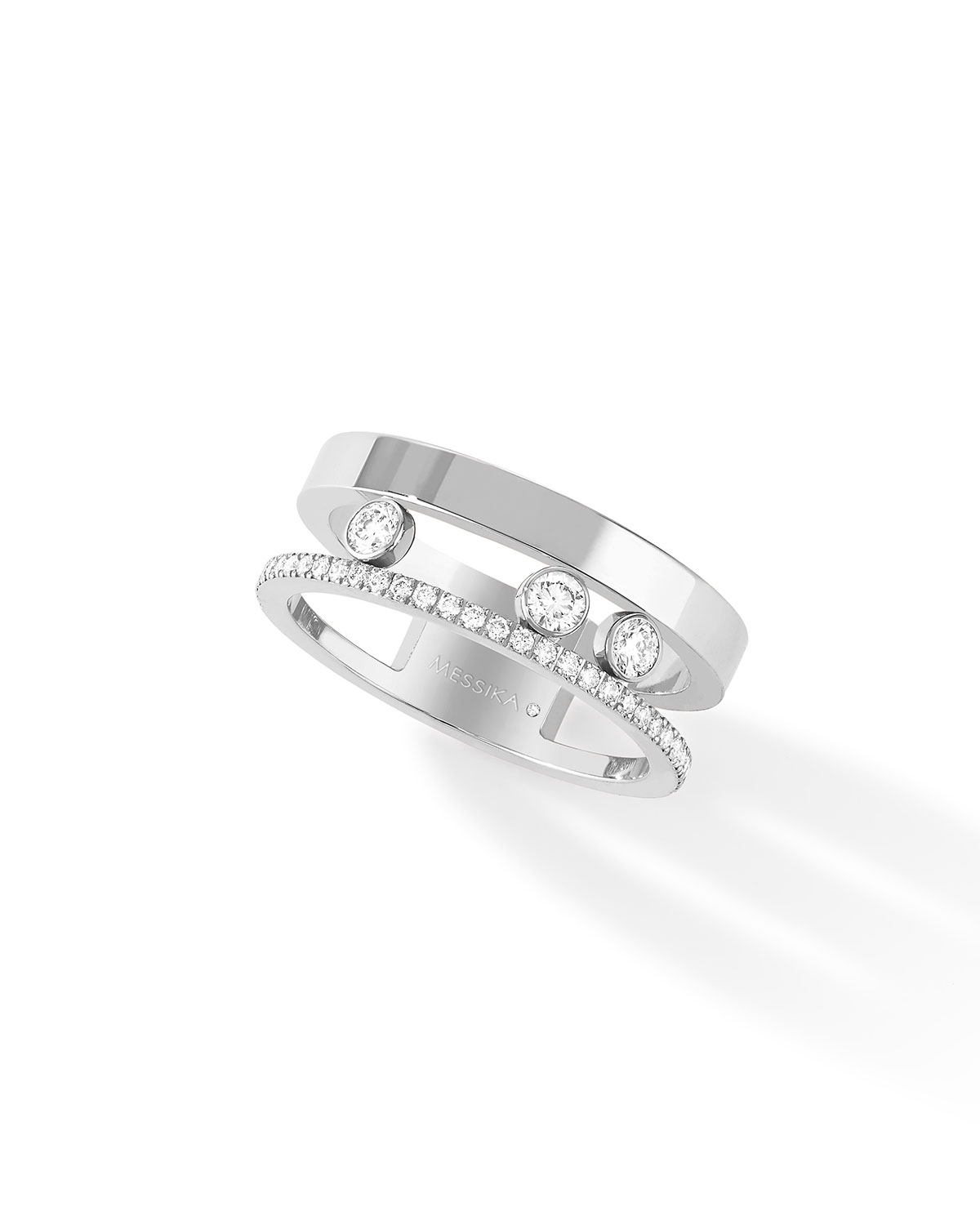 Move Romane Pave and 3-Diamond Ring in 18k White Gold