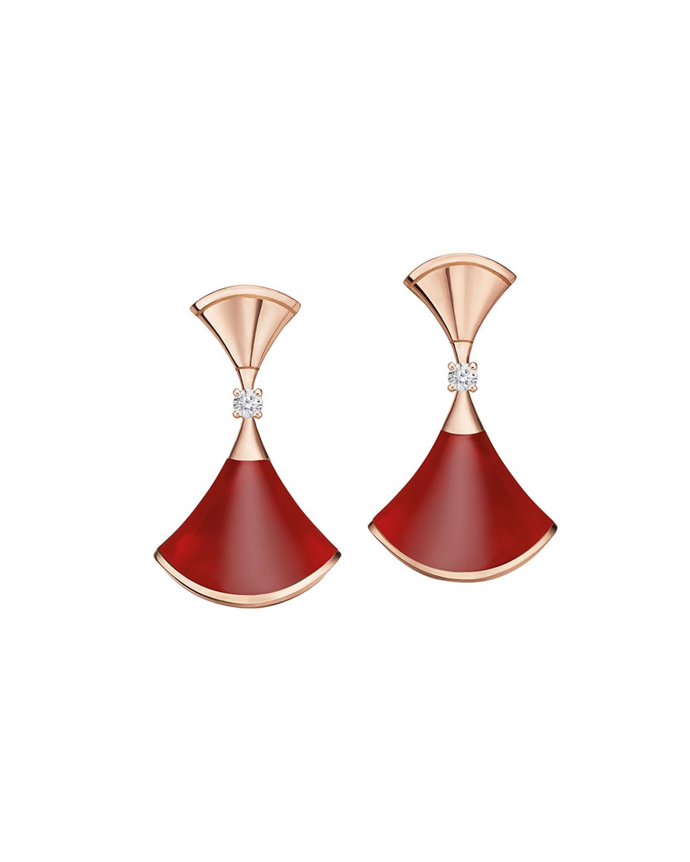 Divas' Dream 18k Rose Gold Carnelian Earrings