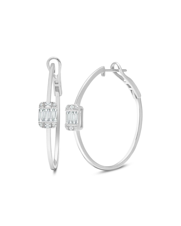 18k white Gold Large Diamond Hoop Earrings