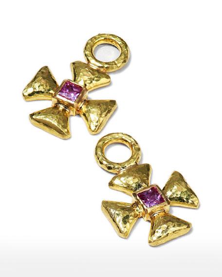 Elizabeth Locke 19k Pink Sapphire Maltese Cross Earring Charms
