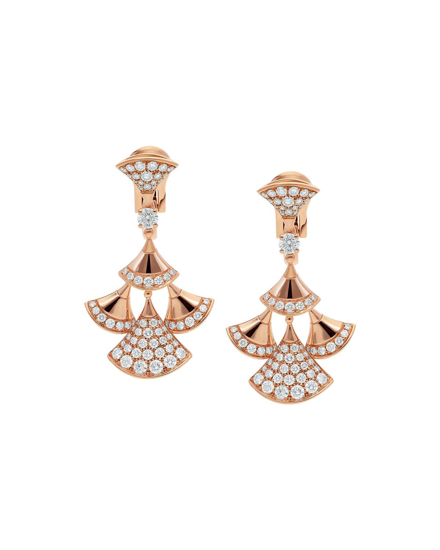 Divas' Dream Earrings in 18k Rose Gold and Diamonds