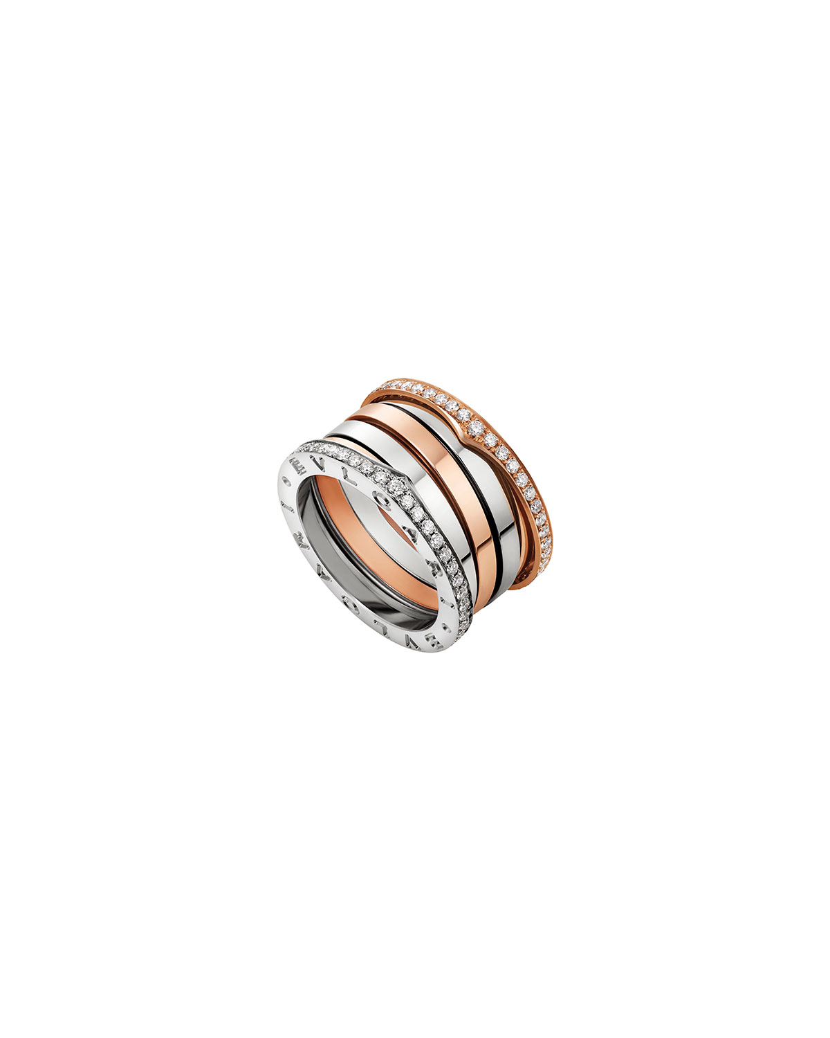 B.zero1 Labyrinth 18k White and Rose Gold Ring with Diamonds