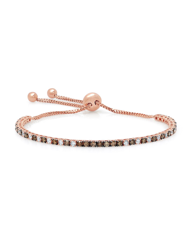 Brown & White Diamond Bolo Bracelet