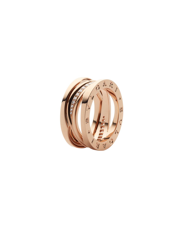 B.Zero1 18k Rose Gold 3-Band Ring with Diamond Trim