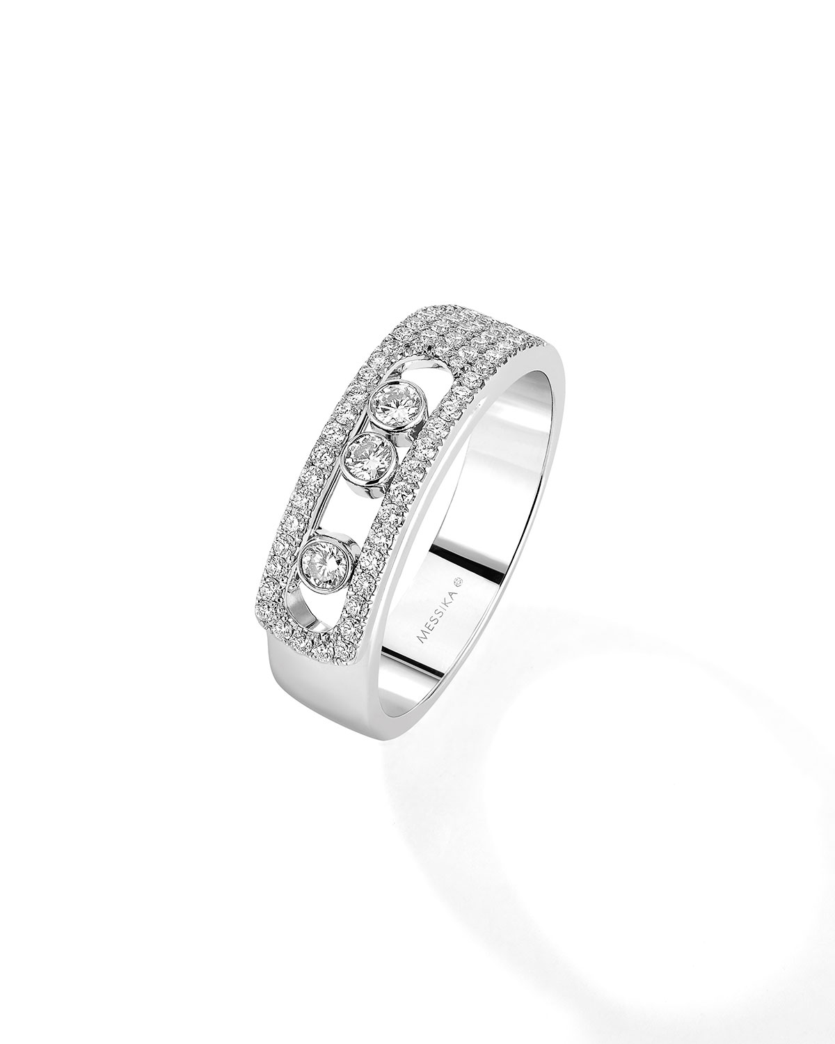 Move Pave and 3-Diamond Ring in 18k White Gold