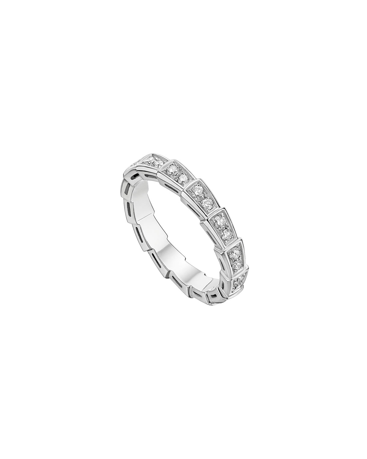 Serpenti Ring in 18k White Gold and Diamonds