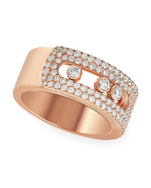 Move Noa 18k Pink Gold Pave Diamond Large Ring