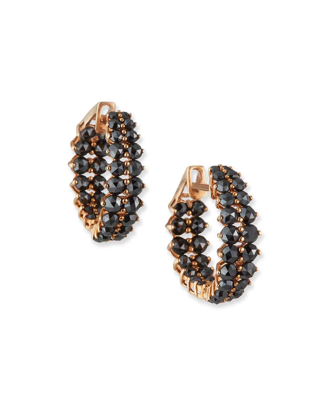 18k Pink Gold Small Black Diamond Hoop Earrings