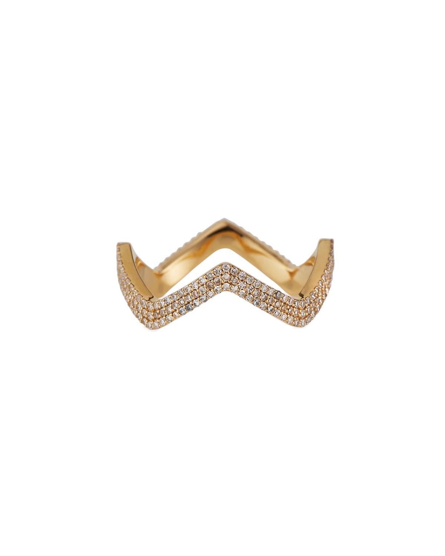 18K Micro Pave Diamond Zigzag Ring