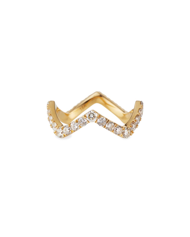 18K Prong Set Diamond Zigzag Ring