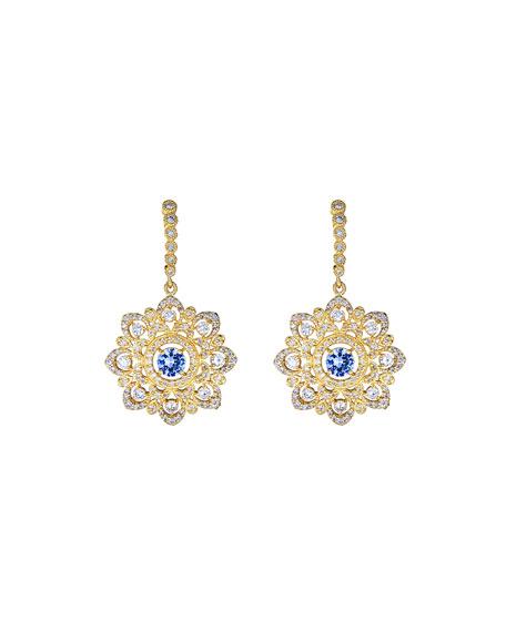 Tanya Farah Art Deco Ceylon Sapphire and Diamond Drop Earrings