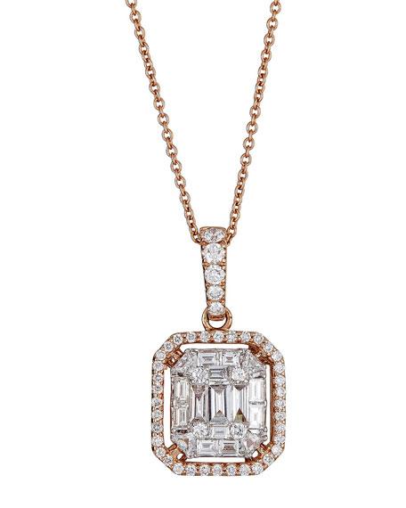 ZYDO Luminal 18k Rose Gold Mixed-Cut Diamond Pendant Necklace