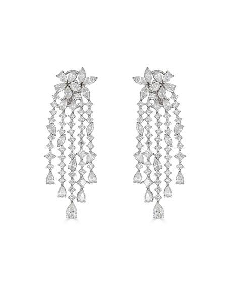 ZYDO Unique 18k White Gold Diamond 5-Dangle Earrings