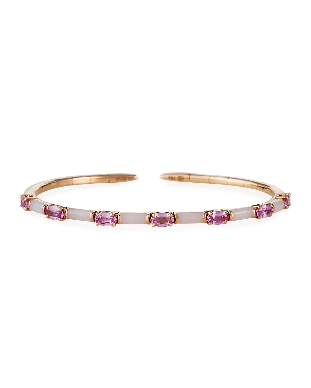 18k Pink Gold Opal and Sapphire Bracelet