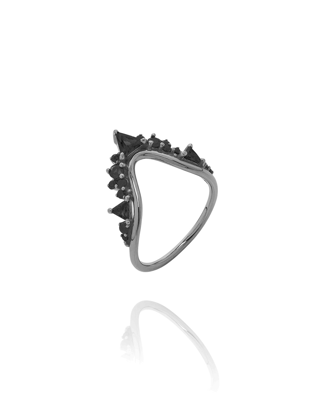Fusion Wave Large Black Diamond Ring