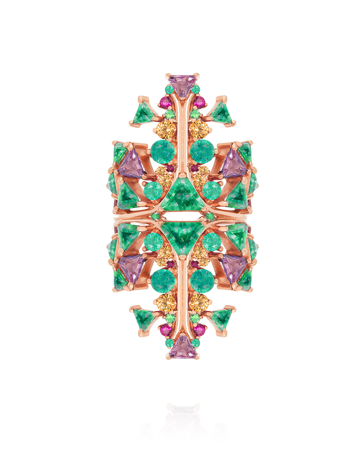 Fusion Cross Ring in 18k Rose Gold and Multicolor Gems