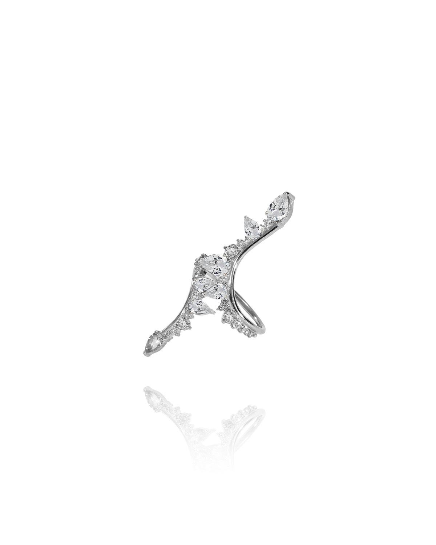 Electric Bolt Diamond Ring in 18k White Gold