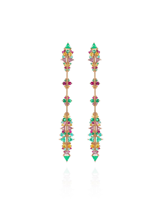 Fusion Arrow Multi-Stone Earrings