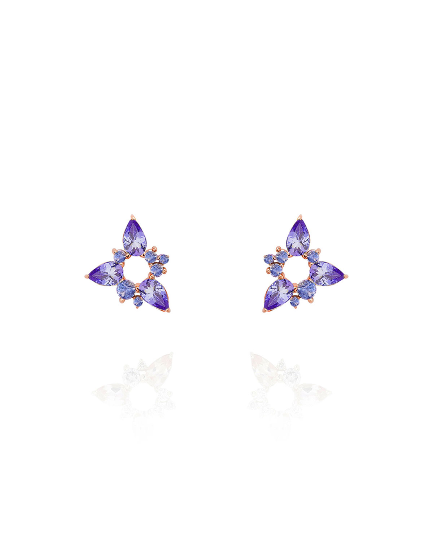 Electric Spark 18k White Gold Tanzanite Stud Earrings
