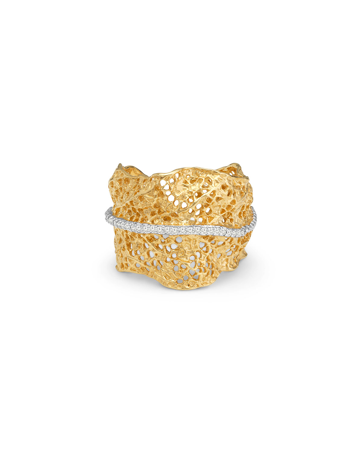 Gooseberry Cuff Ring with Diamonds
