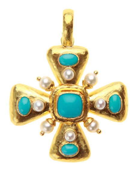 Elizabeth Locke Sleeping Beauty Turquoise and Pearl Maltese Cross Pendant